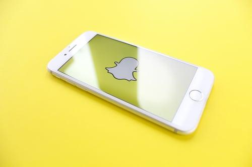 Phone showing Snapchat logo