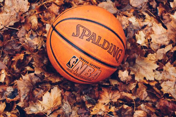 Basketball on autumn leaves